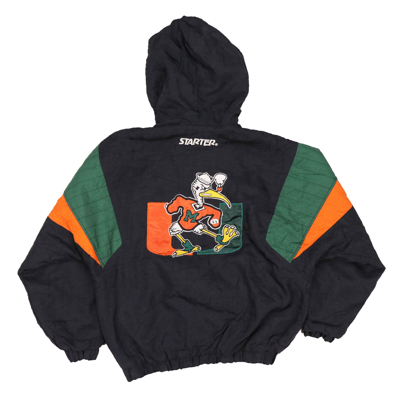 Popular Brand Nike Mens Vtg 90's Miami Hurricanes Full Zip Heavy Coat With Hood Size S Men's Clothing