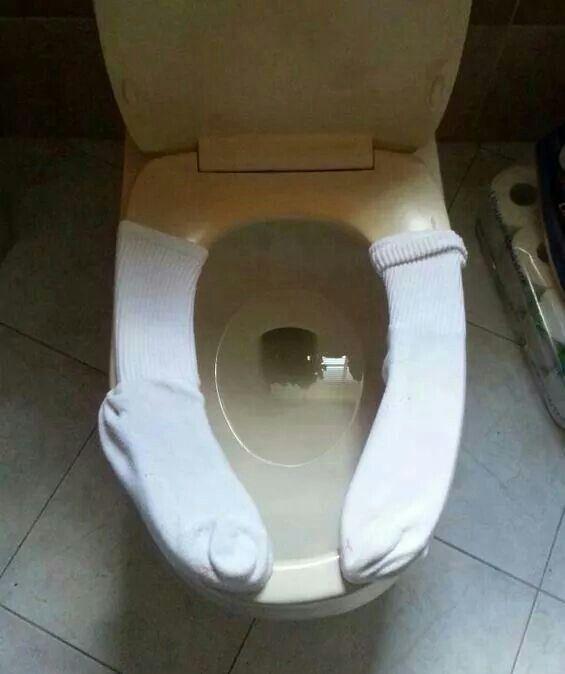 Socks on the toilet seat