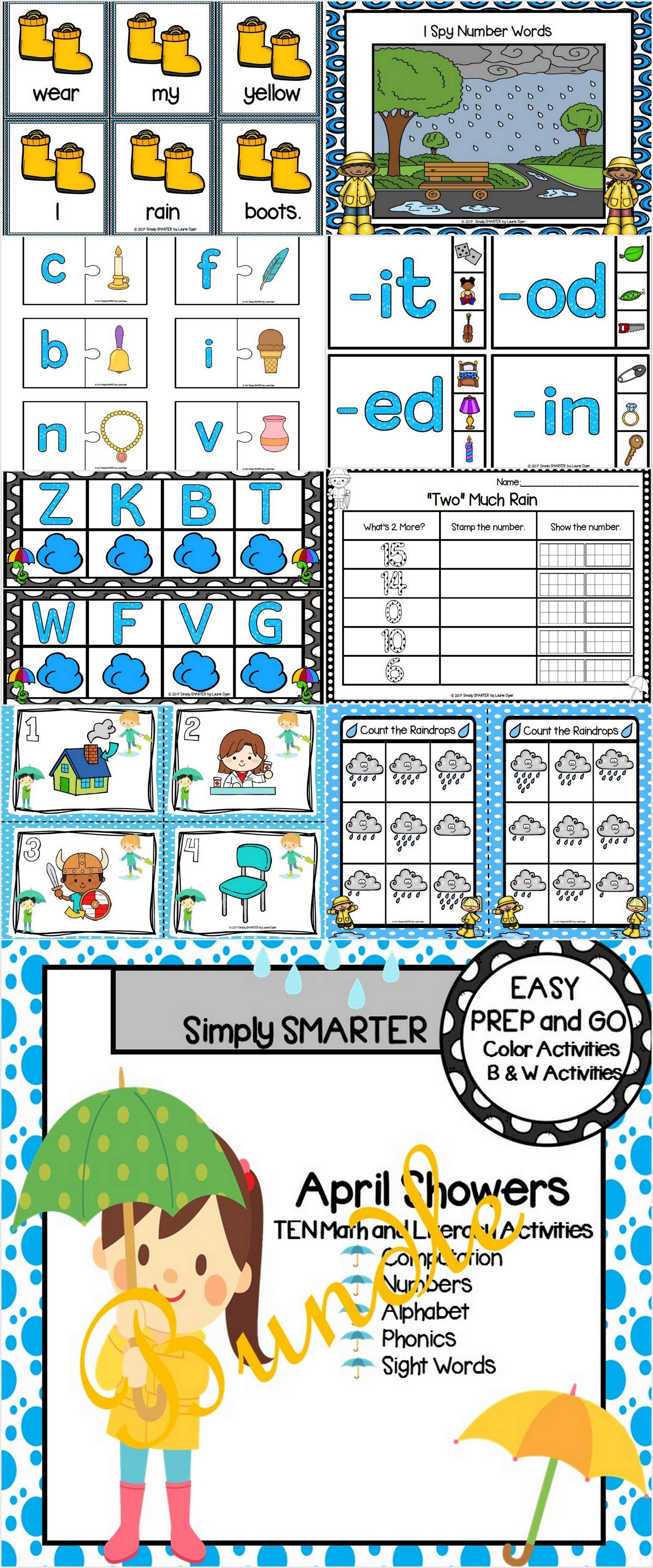 Easy Prep April Showers Math And Literacy Center