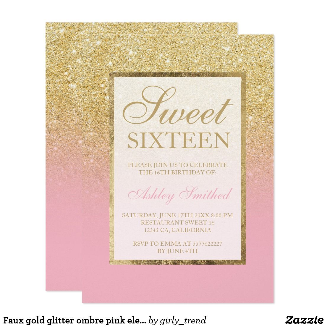 Faux Gold Glitter Ombre Pink Elegant Sweet Sixteen Invitation