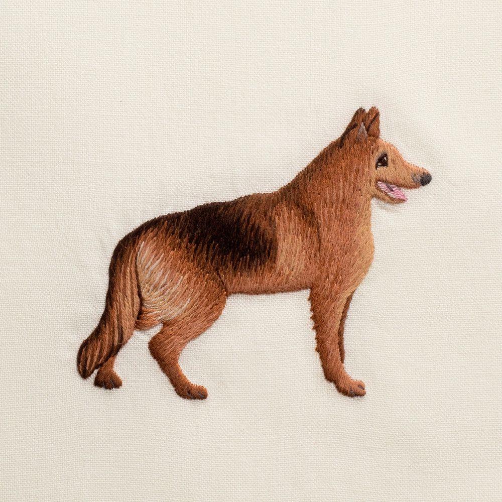 Dog German Shepherd Hand Towel Ivory Cotton Hand