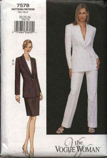 Woman Suit Pattern : woman, pattern, Vogue, Woman, Sewing, Pattern, Misses, 8-10-12, Jacket, Skirt, Pants, Patterns,, Womens, Patterns