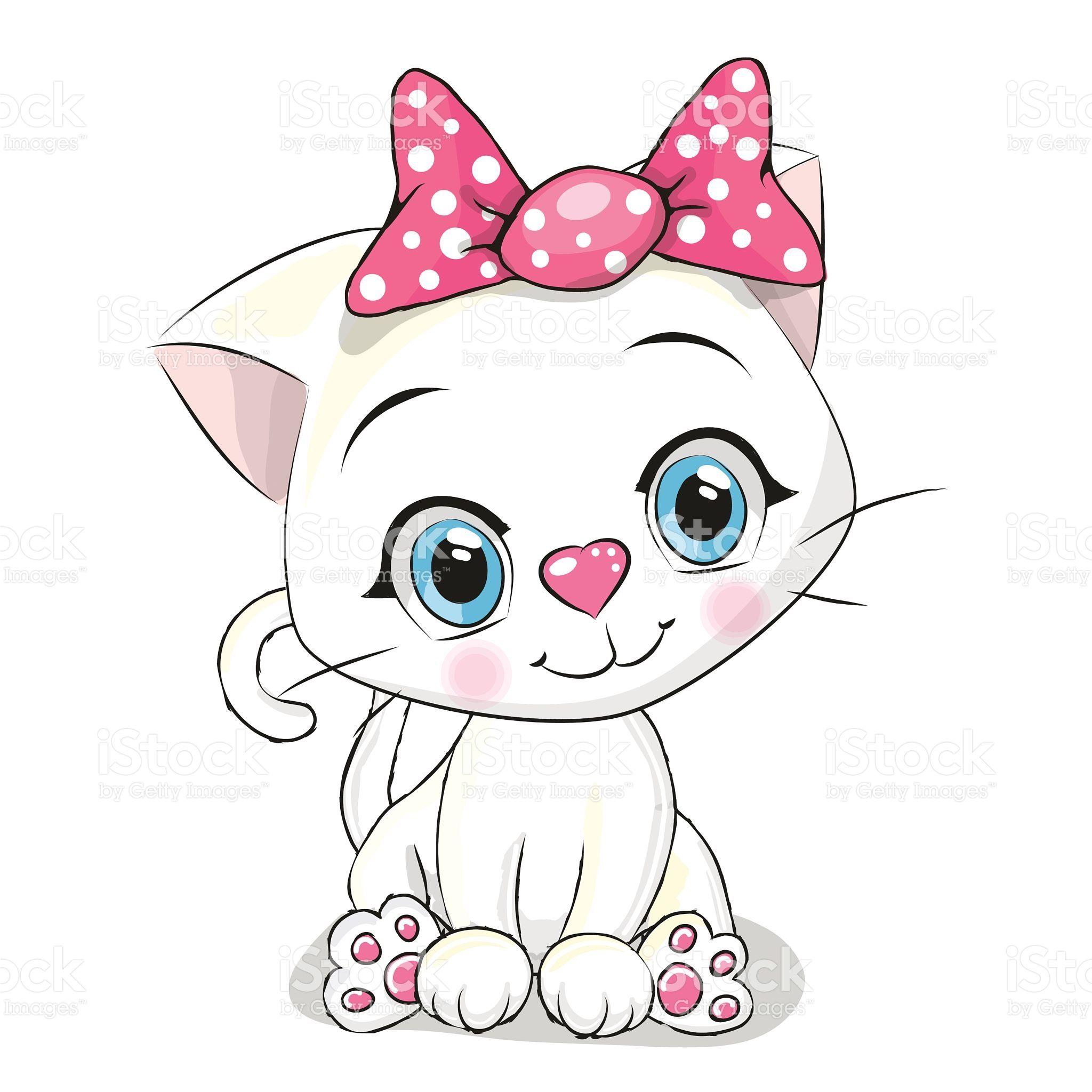 Cute Cartoon White Kitten On A White Background Sevimli