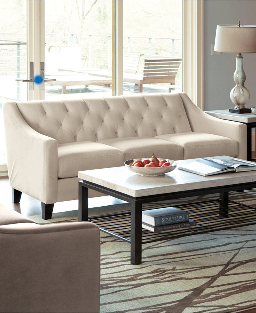 chloe velvet tufted sofa, only at macy's | velvet tufted sofa