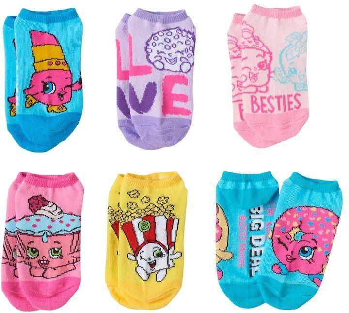 f4807671236 Girls 4-12 Shopkins 6-pk. No-Show Socks