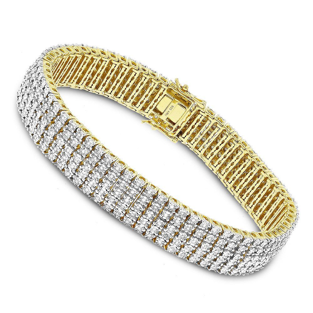 Mens Bracelets: Sterling Silver 5 Row Diamond Bracelet 1.5ct Gold ...