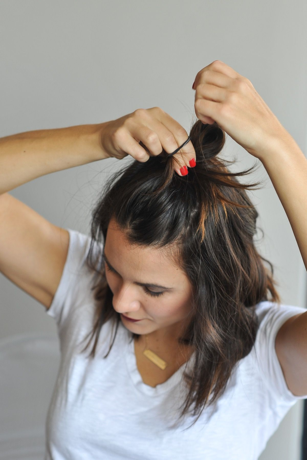 How To Do A Half Top Knot With Short Hair Short Hair Braids