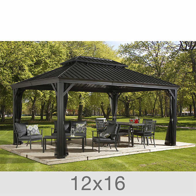 Messina Galvanized Steel Roof Sun Shelter In Dark Gray 12 X 16