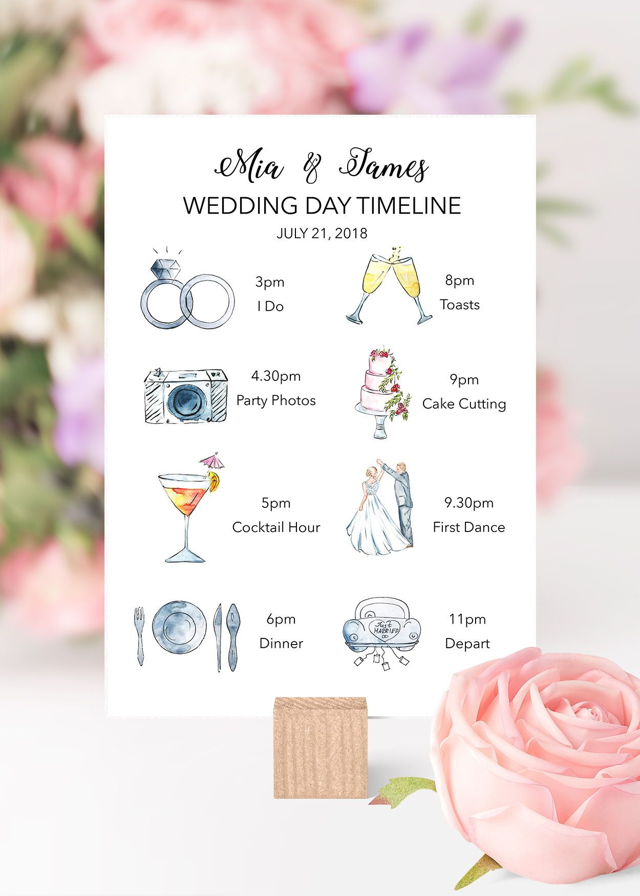 Printable Wedding Timeline Wedding Itinerary With Icons