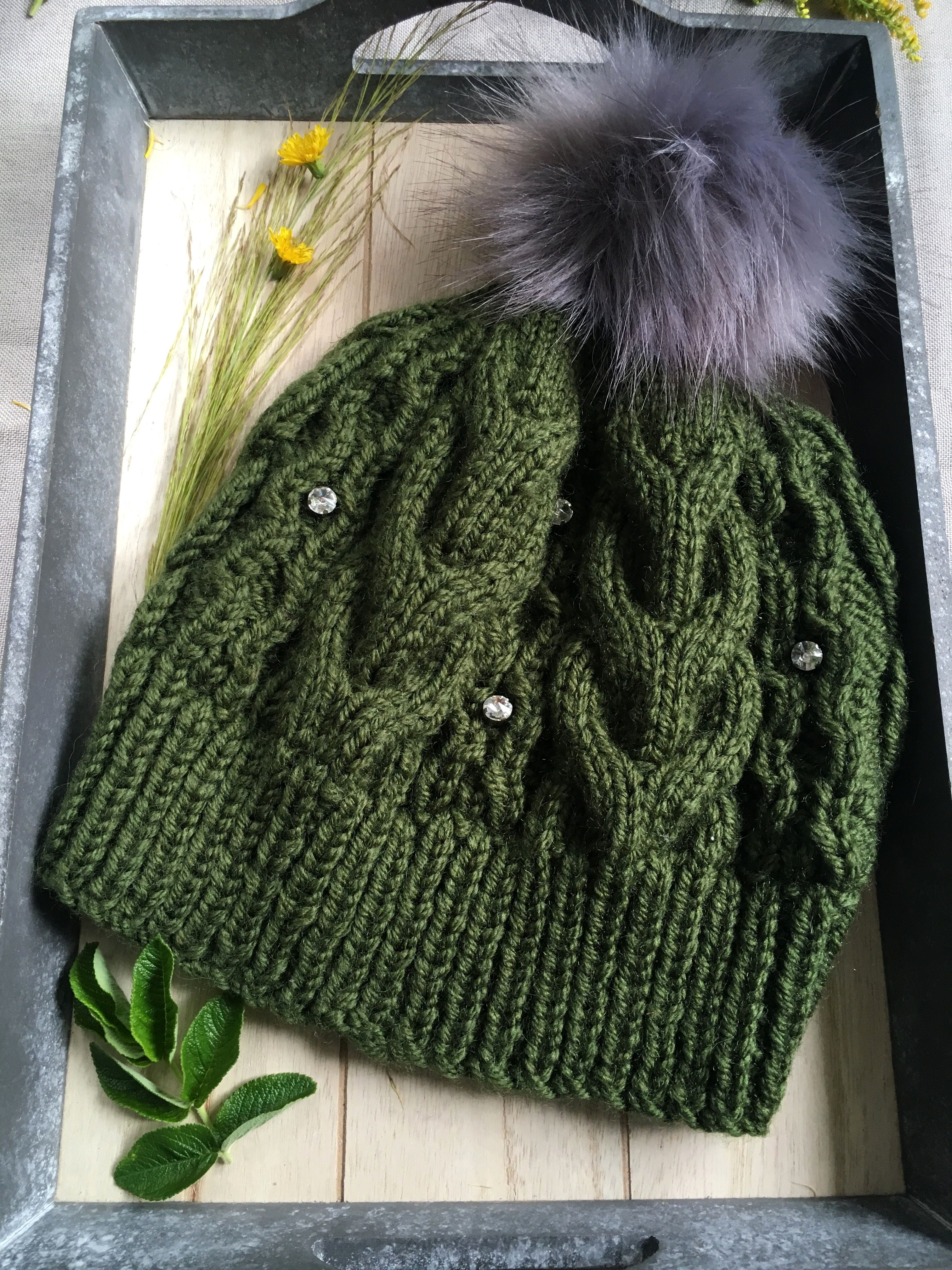 2a0b9150b32c5 Hand-knitted hat Olive green hat With pearls imitation Knit hat for women  Gift for her Ski hat Autumn hat Chunky knit beanie Pom pom hat