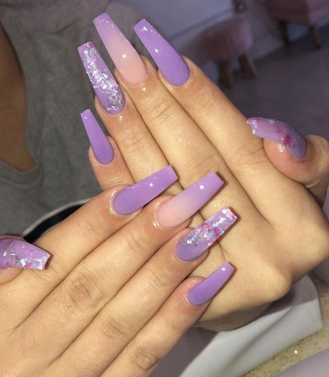 AcrylicNailsSquoval birthdaynails in 2020 Purple