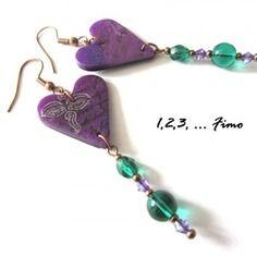 Boucles d'oreilles 'coeur violet' par 123 fimo