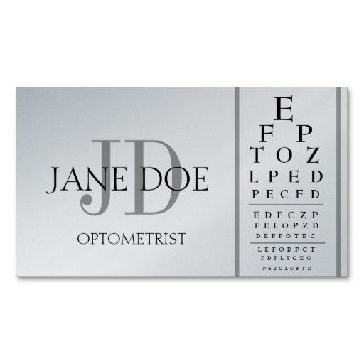 Optometrist Chart Deluxe Platinum Business Card Template | Mum B
