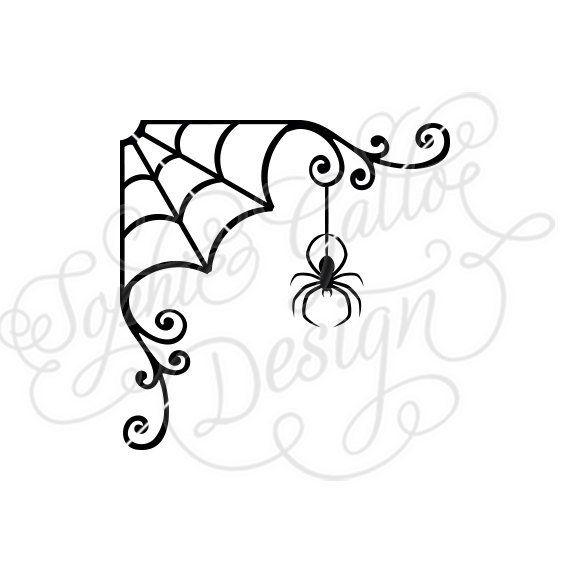 Spider web easy. Halloween flourish svg dxf