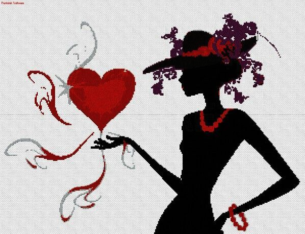 0 point de croix silhouette femme avec un coeur - cross stitch girl holding a heart in her hand
