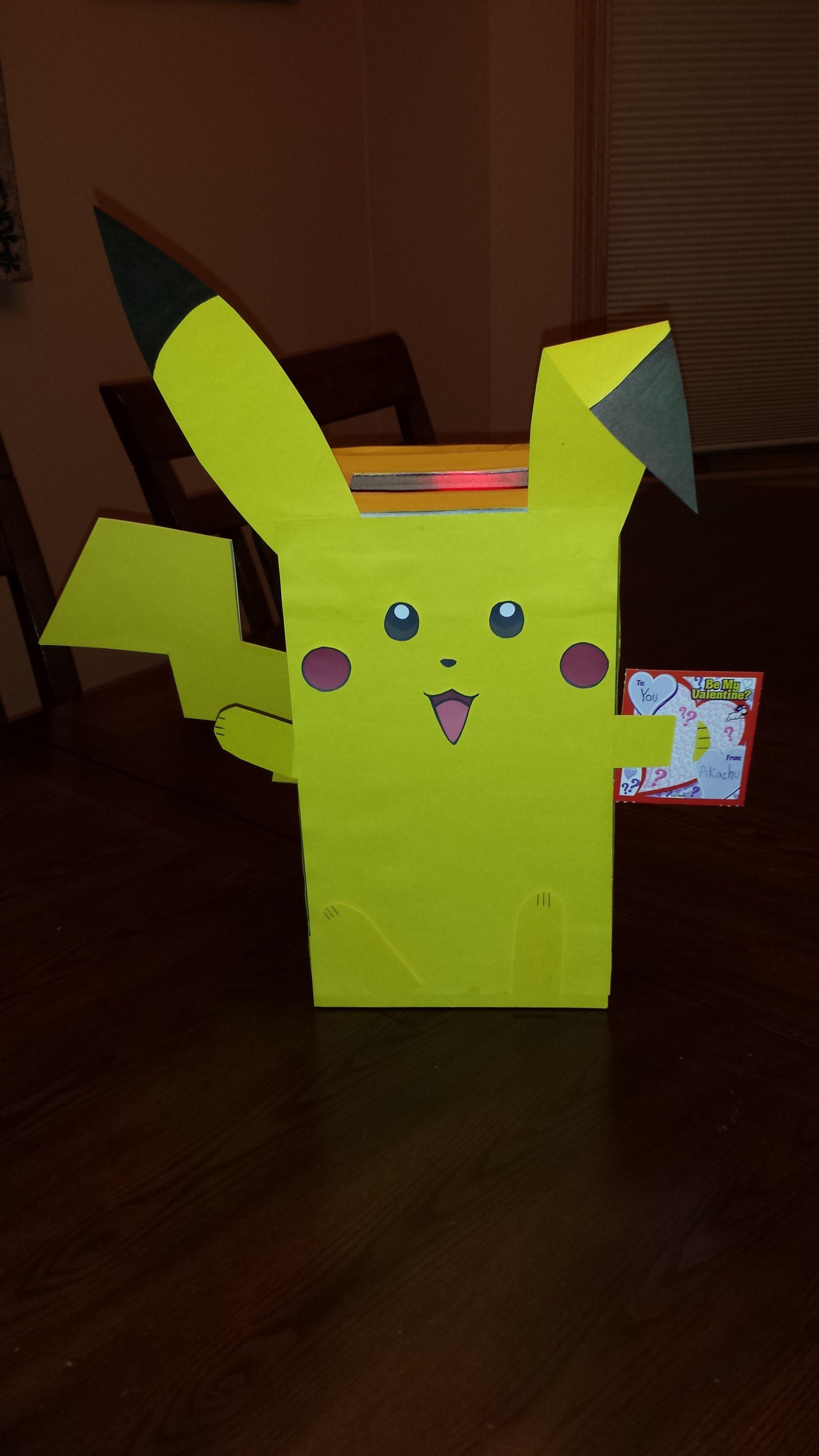 Pikachu Valentine Box  Boys valentines boxes, Valentines diy kids, Pokemon valentines box