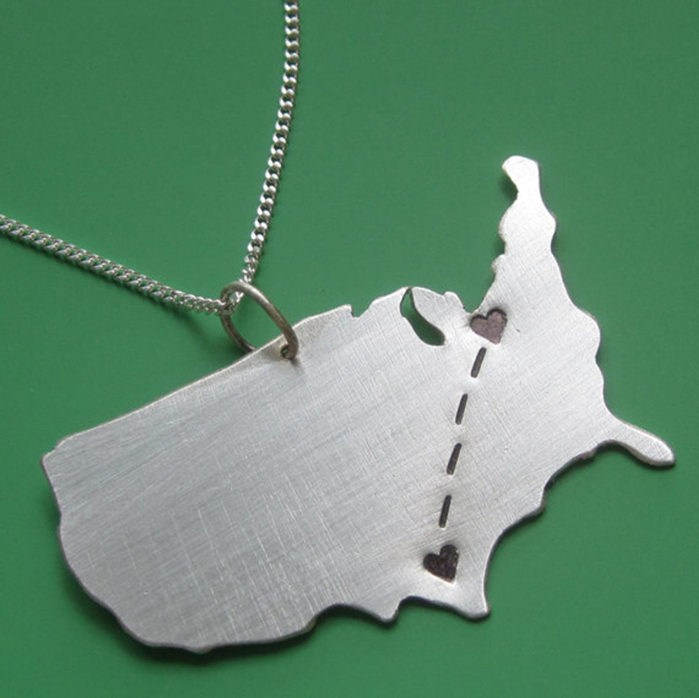 Customizable Map Necklace by Sudlow Long distance love