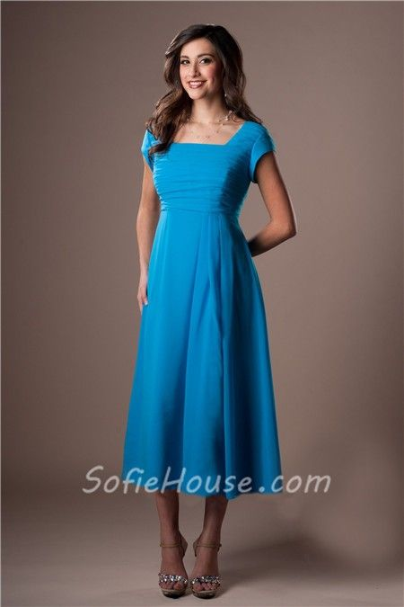 5ea5d0cca94a Modest A Line Tea Length Turquoise Blue Chiffon Party Bridesmaid Dress With  Sleeves