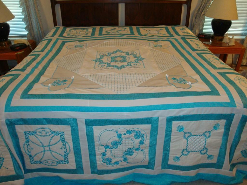 Latte Embroidered Quilt King Size Via Craftsy