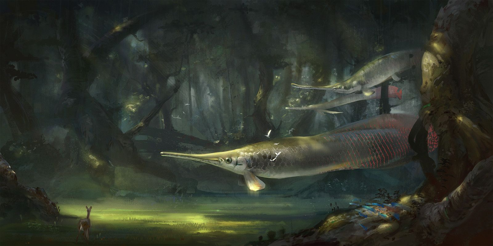 Forest of flying fishes, Marcin Basta on ArtStation at https://www.artstation.com/artwork/forest-of-flying-fishes