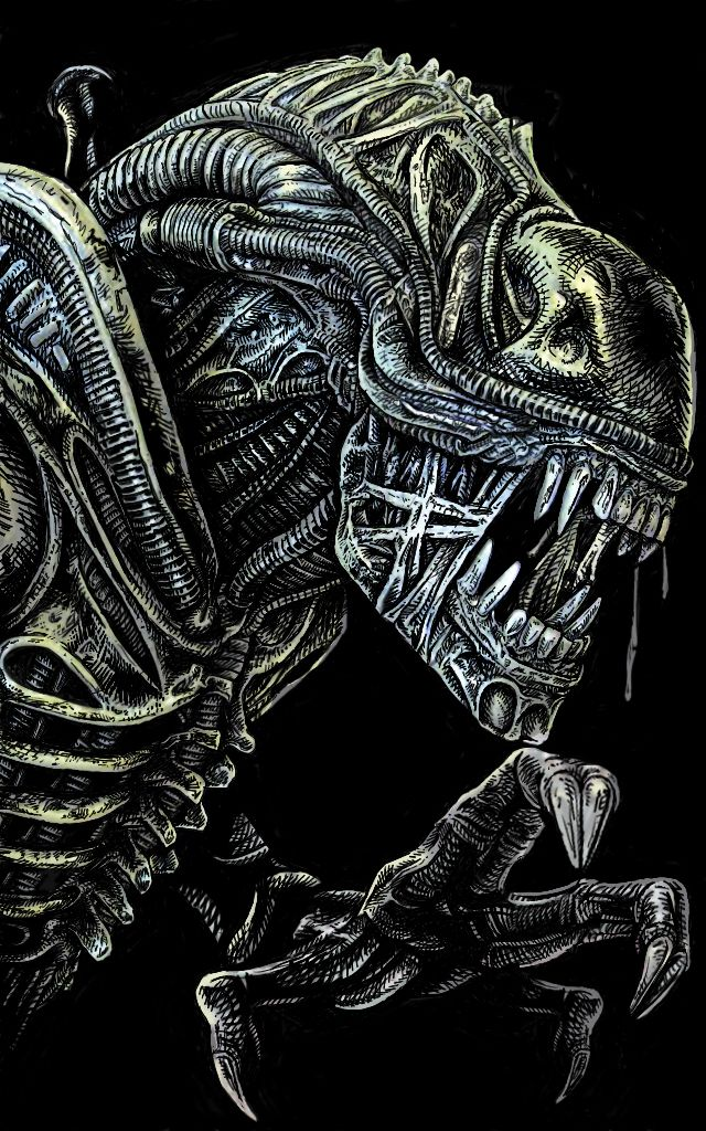 """another drawing based on the """"Alien saga"""". it's a redesign of a known DVD cover, all manually done, including the logo, with Photoshop and Trust pressure tablet."""
