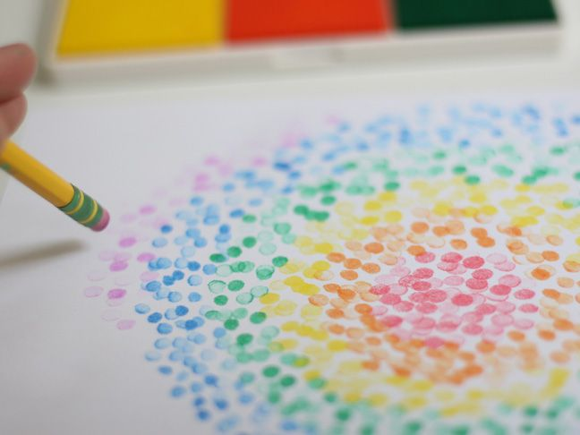 intro to pointillism pencil stamps craft project eraser stamp
