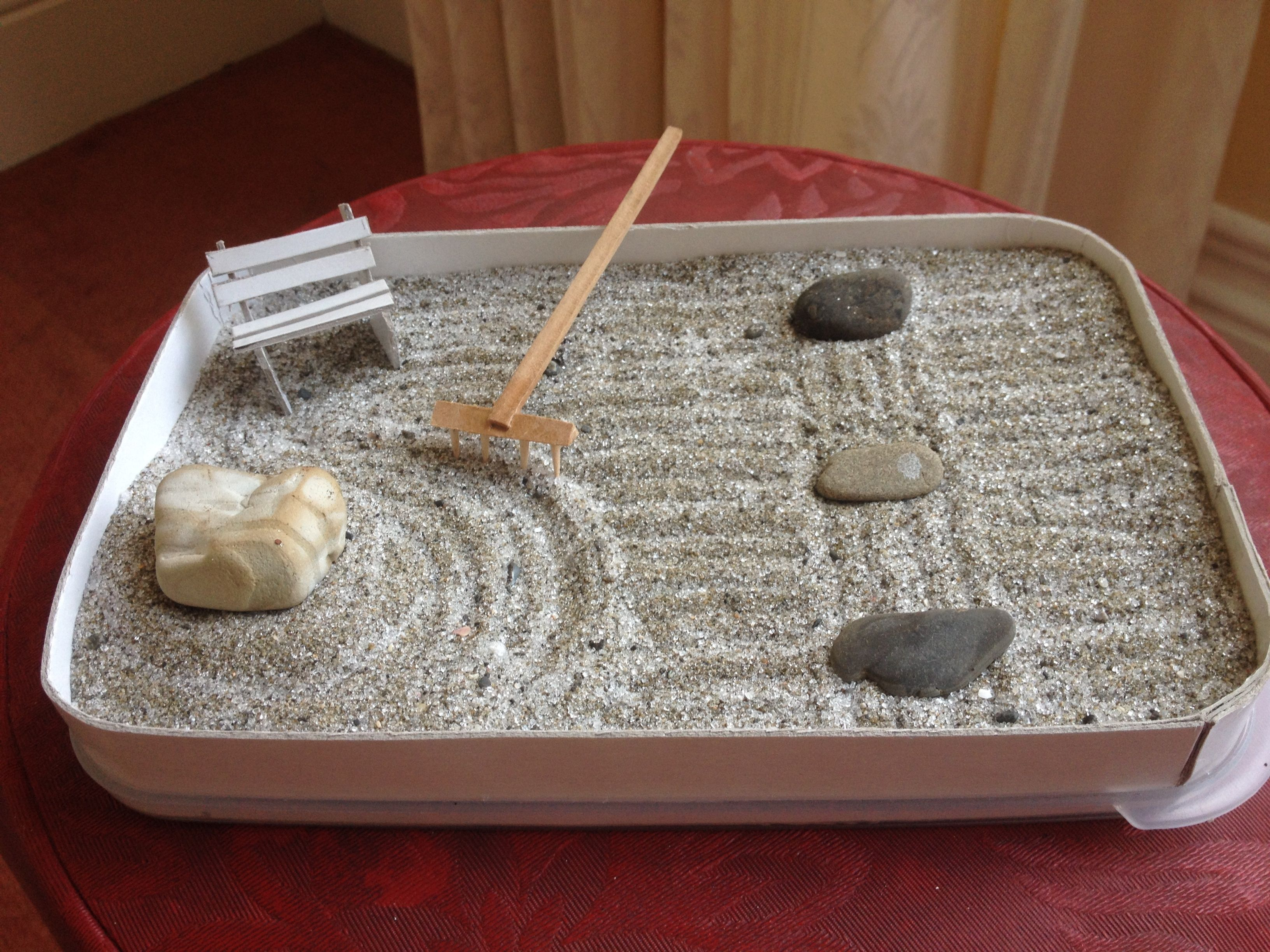 Make Your Own Zen Garden! I Used A Plastic Container Lid As The Base, Put  Thick Cardboard Around The Lip And Filled With Sand From The Beach. The  Stones I ...