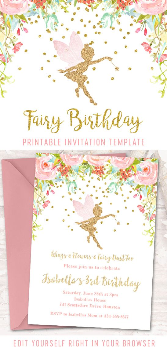 It's just an image of Lucrative Fairy Birthday Invitations Free Printable