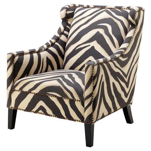 Eichholtz Jenner Modern Classic Zebra Print Nailhead Trim Accent