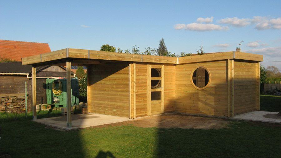 Abri jardin contemporain en bois autoclave avec toiture en for Abri jardin acier