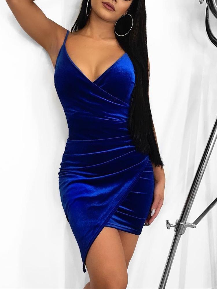 Irregular Wrap Velvet Party Dress