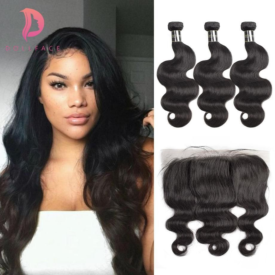 Dollface Indian Hair Weave Bundles With Frontal Body Wave