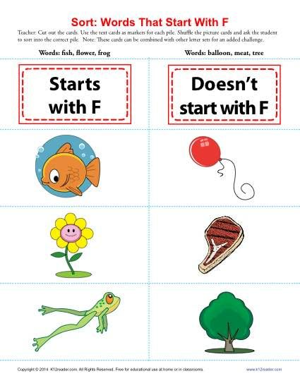 Letter F Consonant Worksheet - Here's an expandable game for sorting words. Play it with one set, two sets or more! It's perfect practice for Common Core Standards for kindergarten and first grade Language. It is also useful for other students.