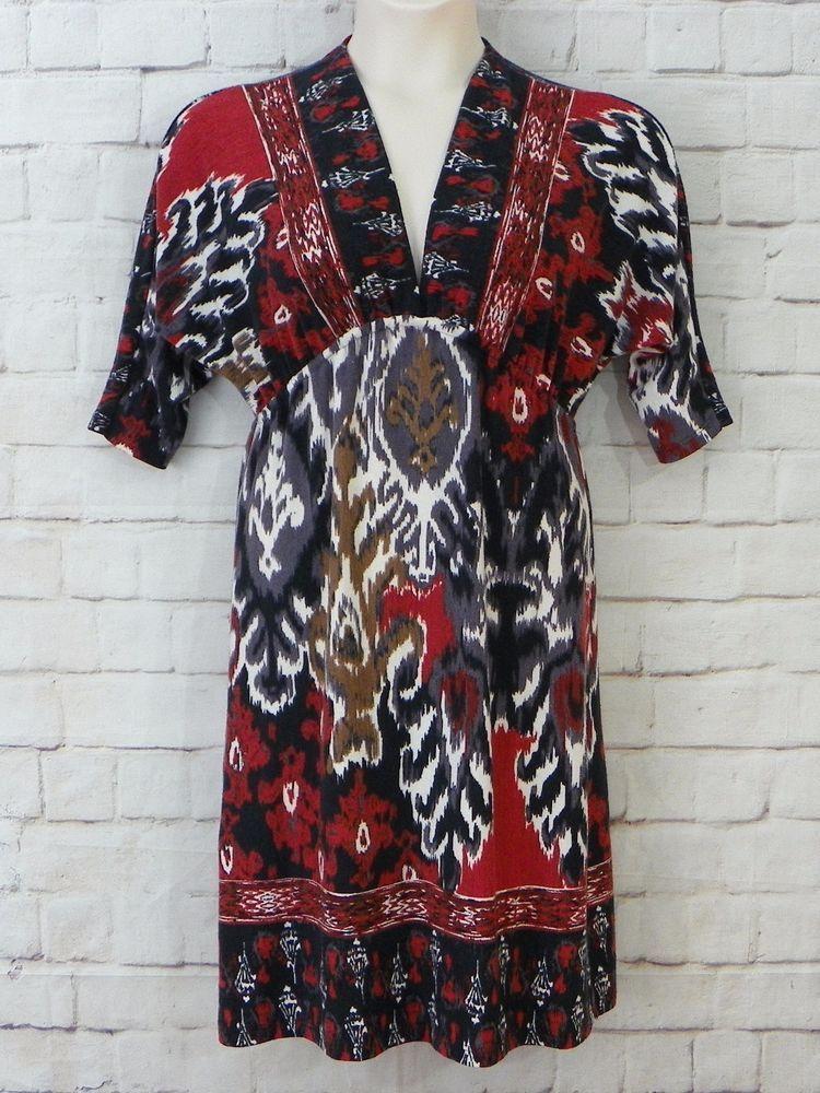 6ec6bea2bf7eea9b557d26cb5fc00e3d womens renee c watercolor print v neck empire waist sweater dress,Renee C Womens Clothing