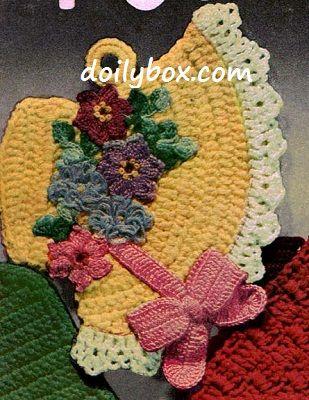 Free Vintage Crochet - Easter Bonnet Potholder Pattern | Crochet ...