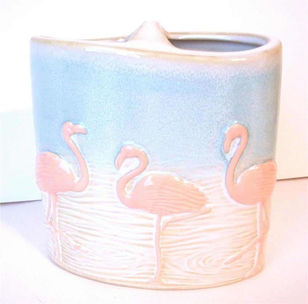 pink flamingo coastal collection ceramic toothbrush holder beach bathroom decor - Pink Flamingo Bath Decor