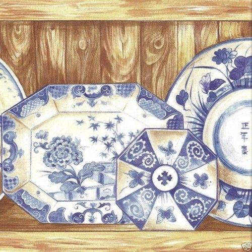 Blue Oriental Dishes Wallpaper Border