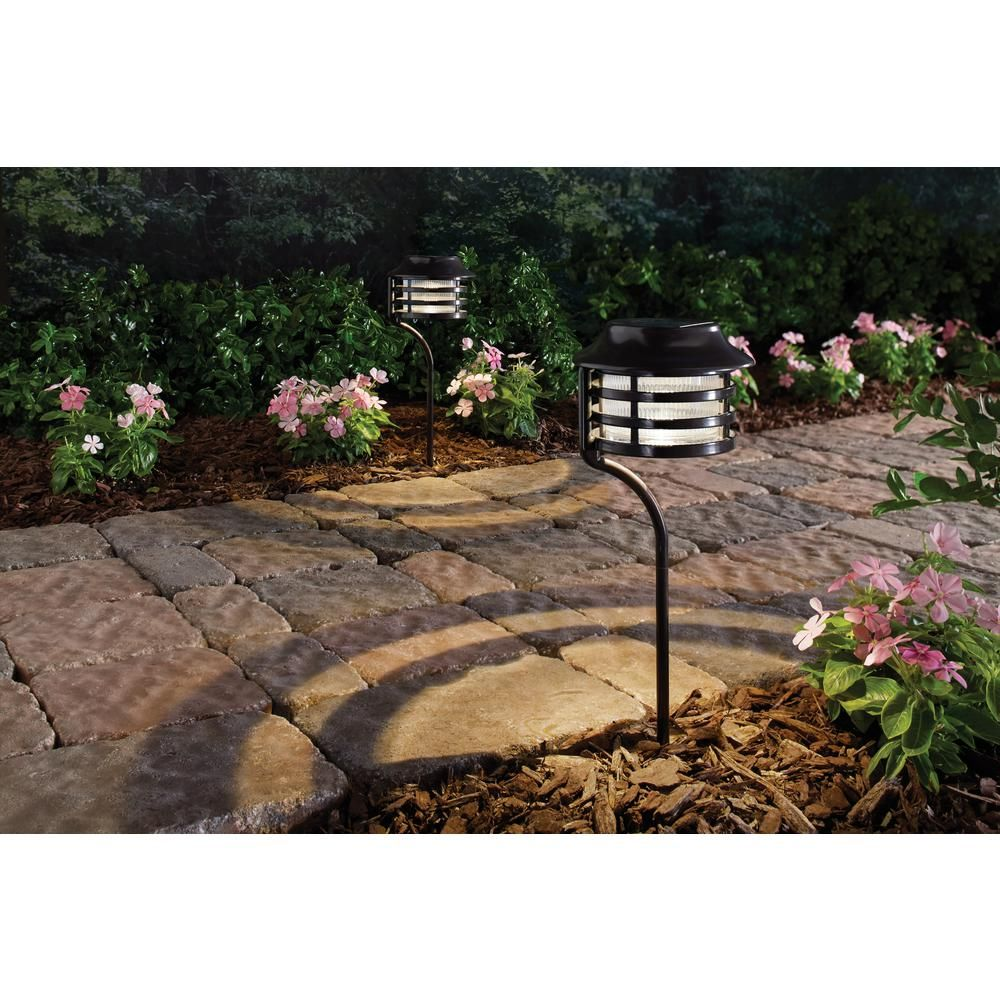 Hampton Bay Solar Bronze Outdoor Integrated Led New Age Pagoda Landscape Path Light 2 Pack 49904 With Images Outdoor Garden Decor Path Lights Solar Lights Garden