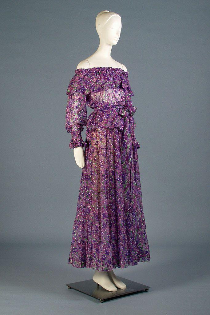 Silk chiffon evening ensemble printed with purple violets, Yves ...