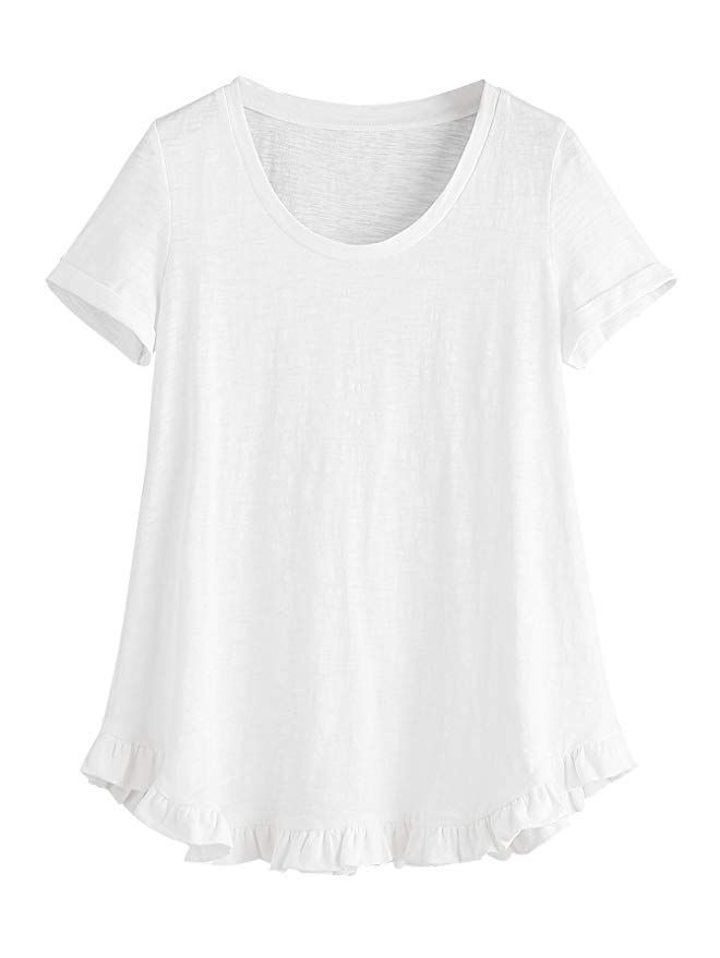 028450ef SheIn Women's Casual Loose Ruffled Hem T-Shirt Tee Small White ...