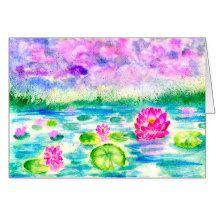 Lotus Pond Watercolor Card