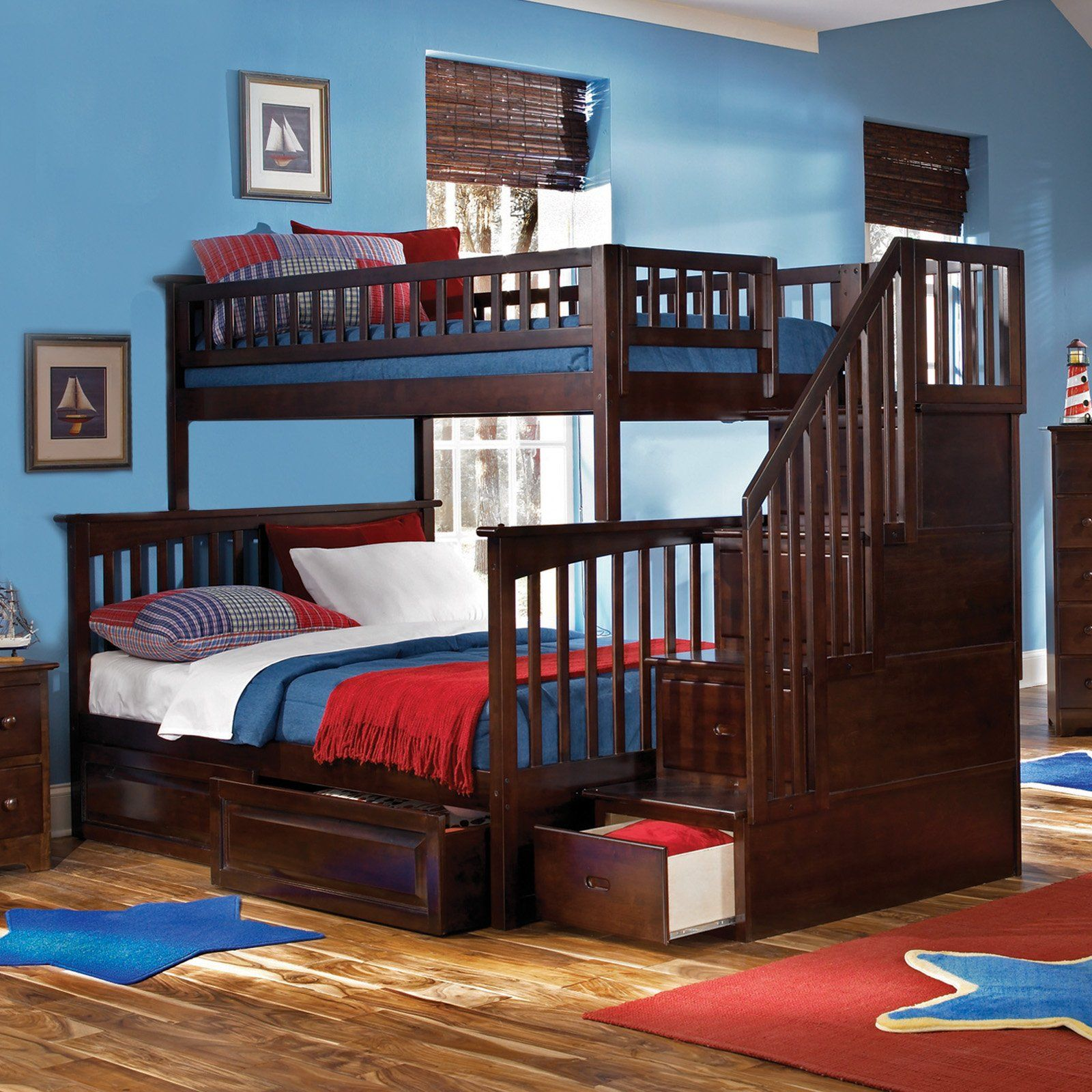 Loft bed with storage stairs  How cool a bunk bed with stairs that have drawers in them too
