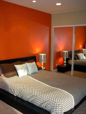 ديكورات حوائط غرف نوم برتقالي اورانج Huisdecoratie