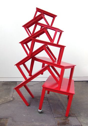 Angela McHarrie,   'Red Alert' 2013,    timber, polished stainless steel,  250 x 152 x 120cm