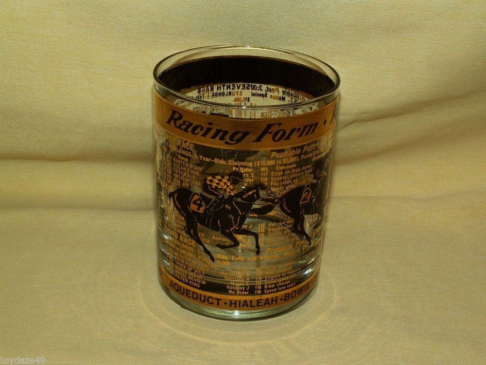 Horse Racing Form High Low Ball Glass Black Gold Betting Odds