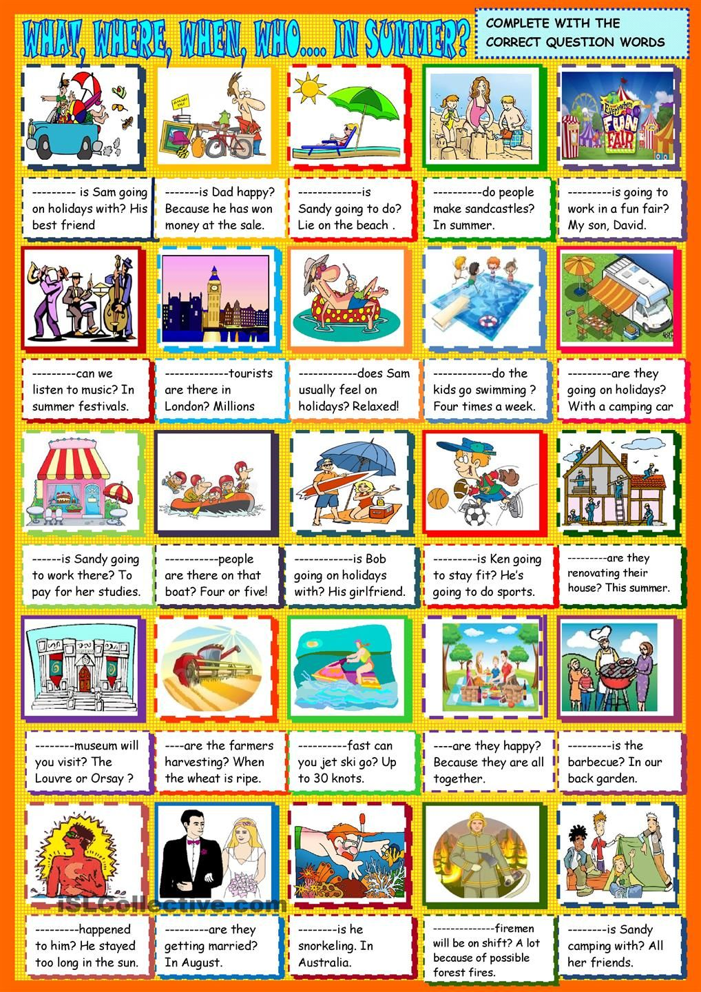 worksheet Esl Summer Worksheets what where when who in summer question words esl questions context on the theme of then you ask your pupils to each other about their plans for summe