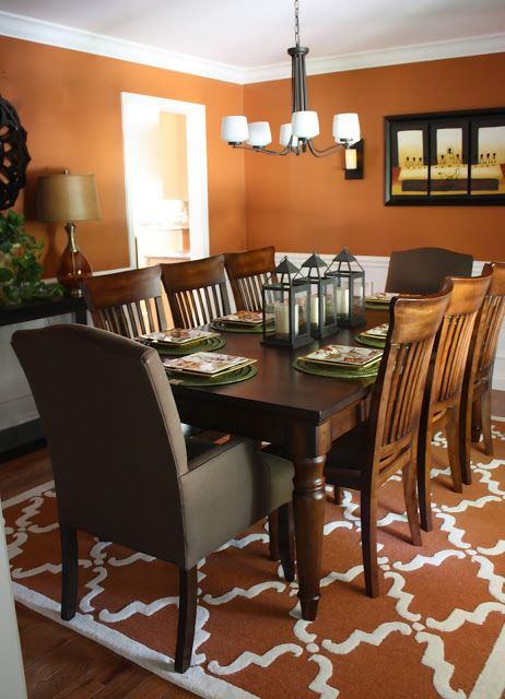 Burnt Orange Wall Paint Dining Room Contemporary With Aqua: The Yellow Cape Cod: Before And After~A Dining Room Design