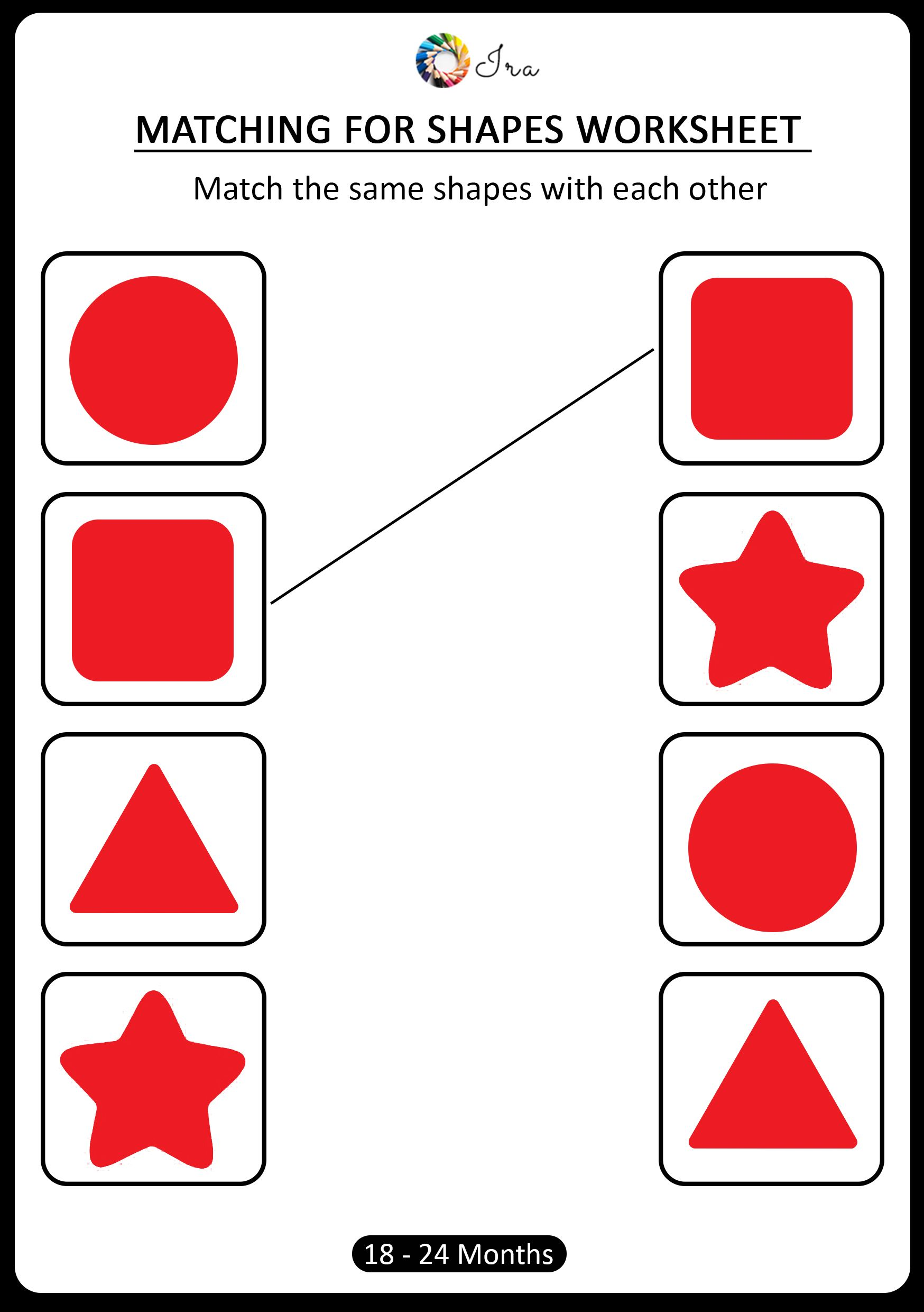 Pin di [1824 months] Matching for Shapes worksheets for kids