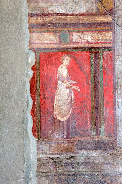 """File:Villa of Mysteries (Pompeii)-20.jpg Vermilion is a brilliant red or scarlet pigment originally made from the powdered mineral cinnabar, and is also the name of the resulting color.[2] It was widely used in the art and decoration of Ancient Rome, in the illuminated manuscripts of the Middle Ages, in the paintings of the Renaissance, and in the art and lacquerware of China, where it is often called """"Chinese Red""""."""