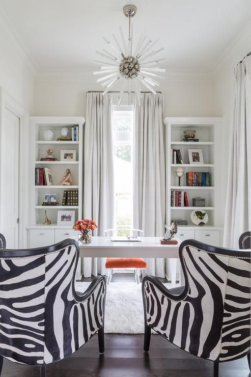 Chic White Office Features An Arteriors Hanley Chandelier